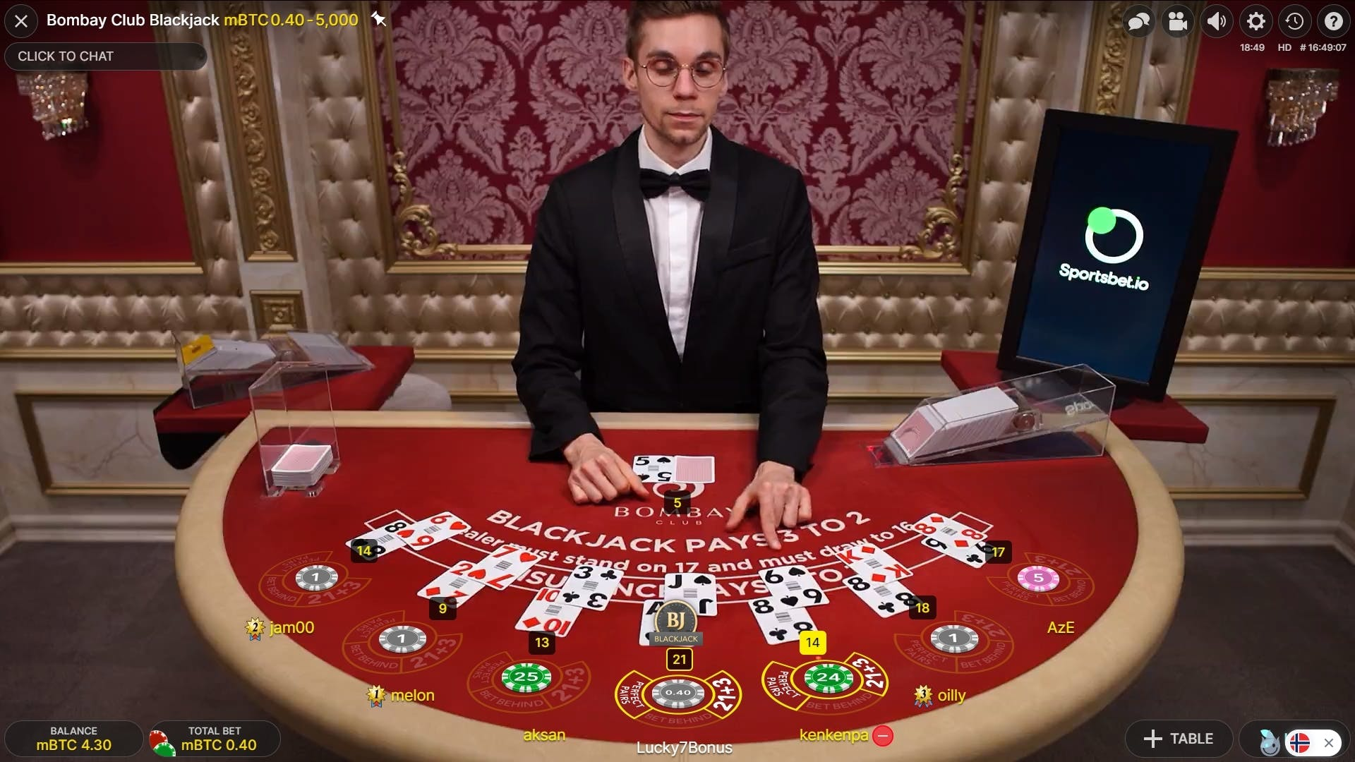 In this example, Lucky7Bonus gets a blackjack with a jack and an as.