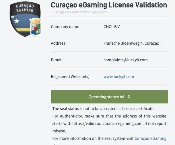 Licence Lucky8 Casino