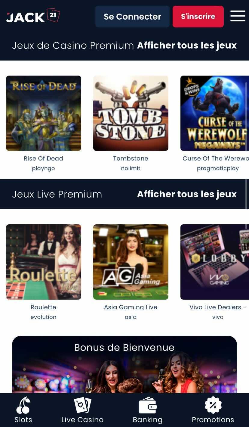 Jack21 sur mobile