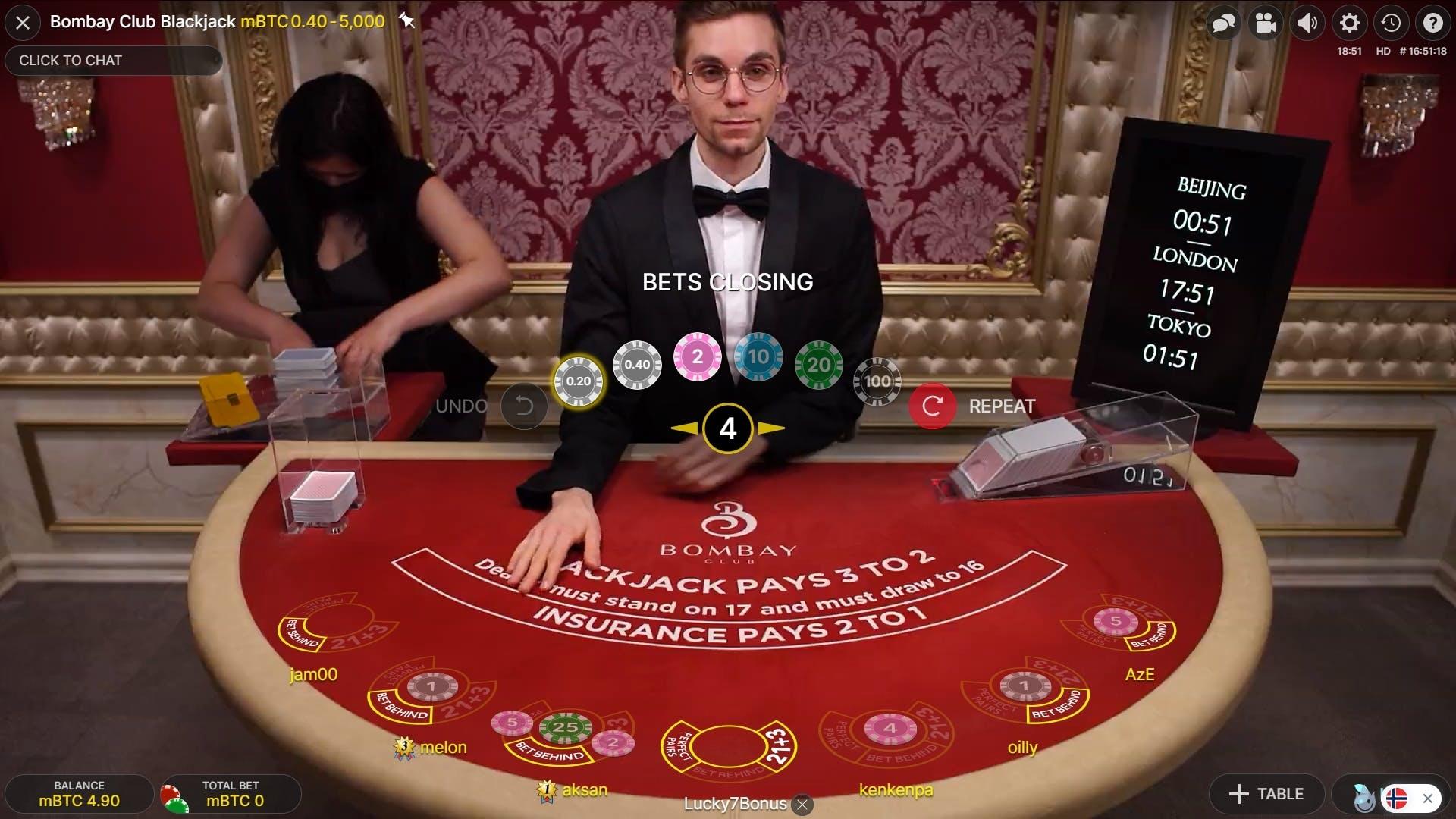 Beggining of a game in blackjack.