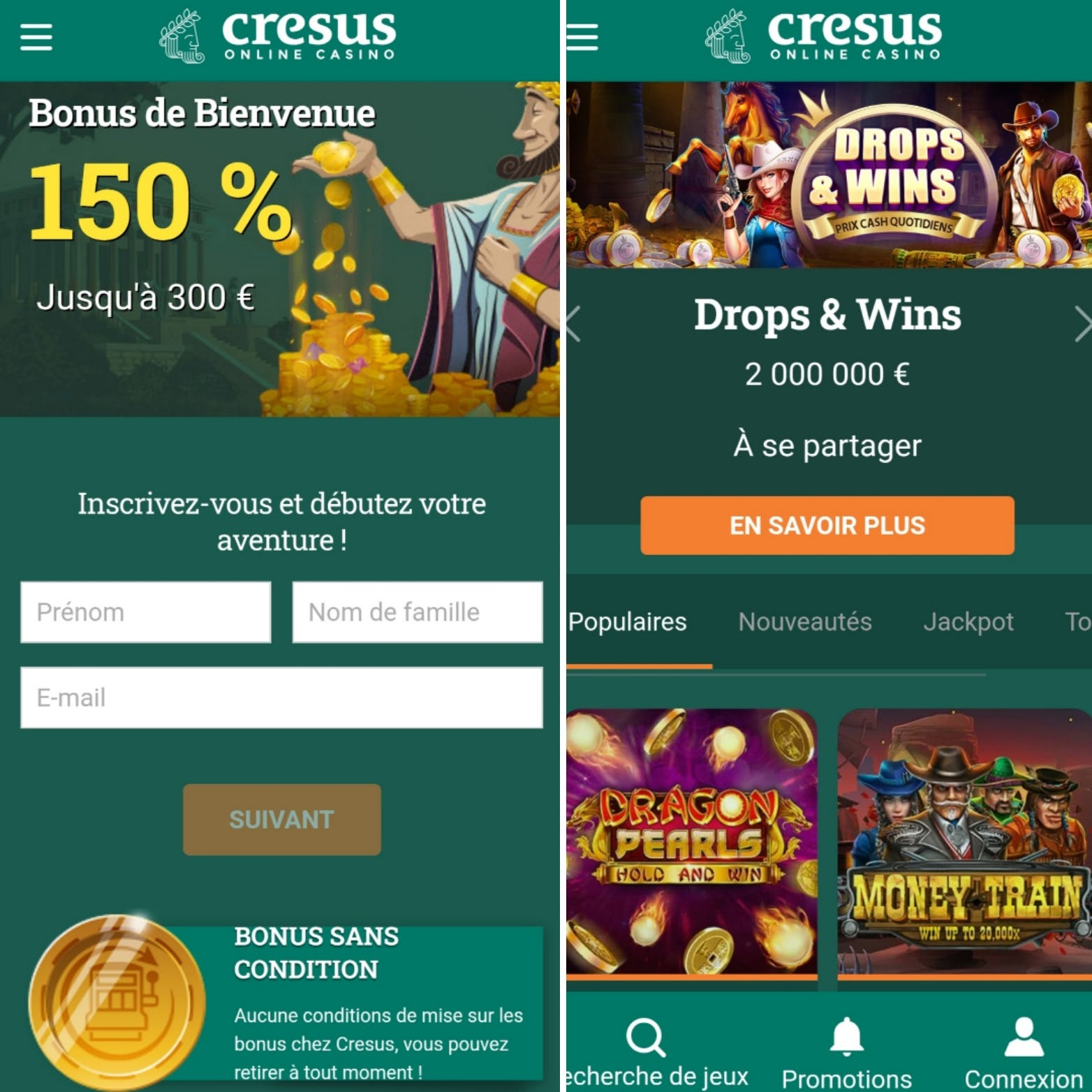 version mobile cresus casino
