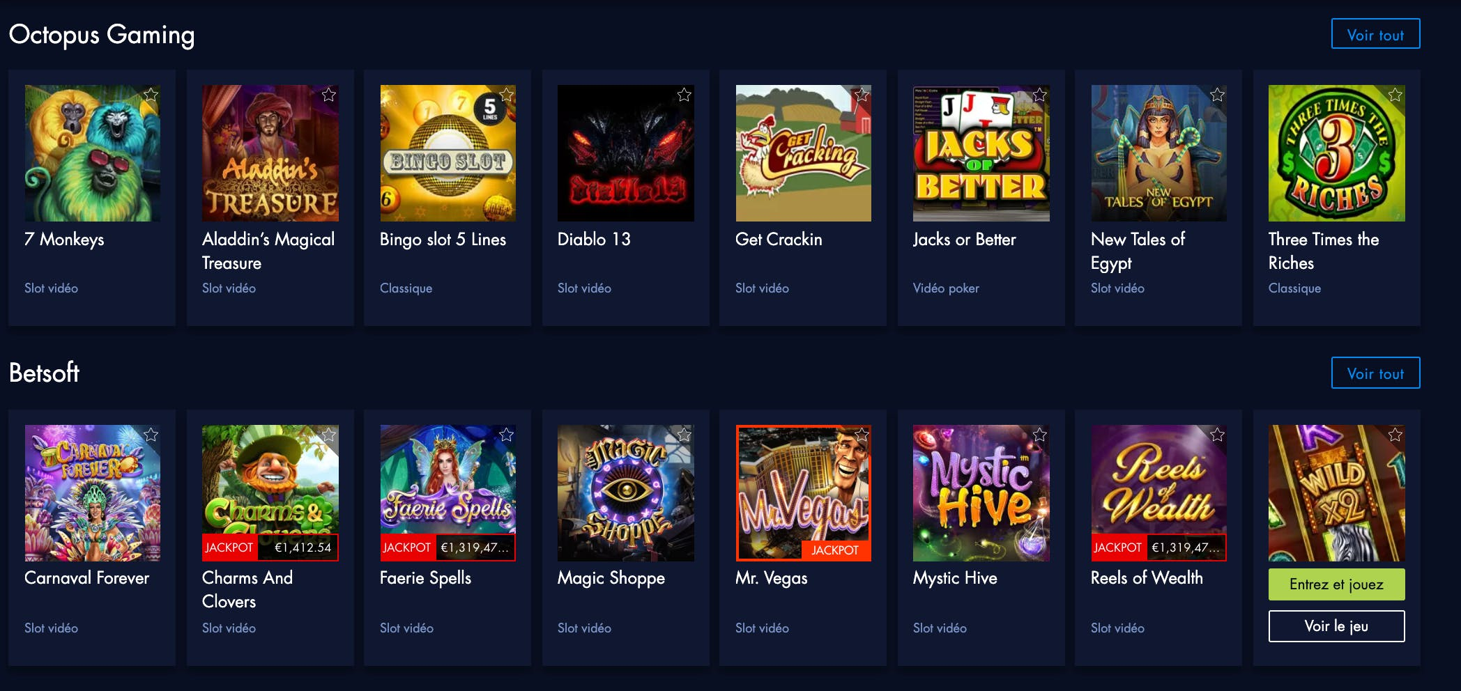 providers available at paris vip casino