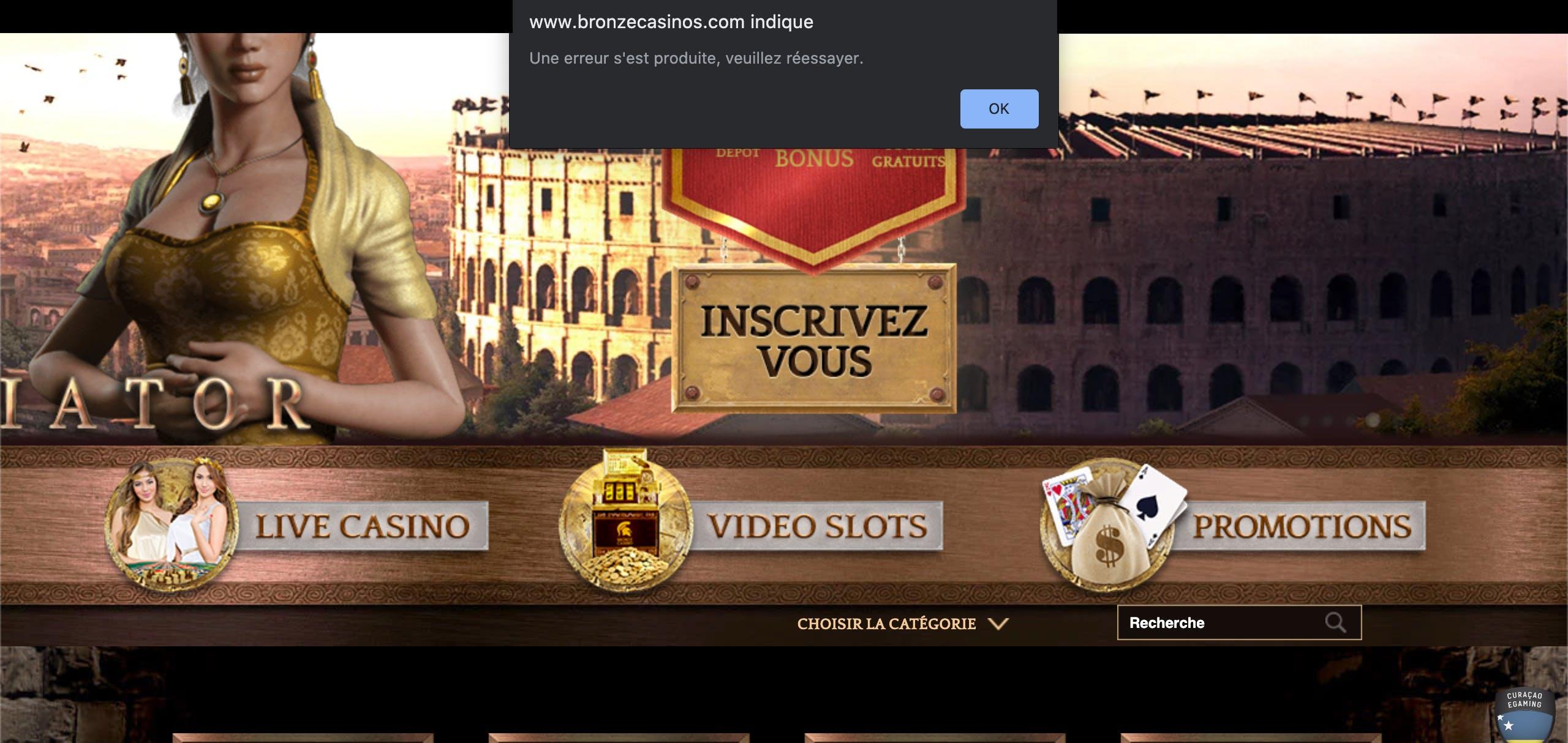 problem home page bronze casino