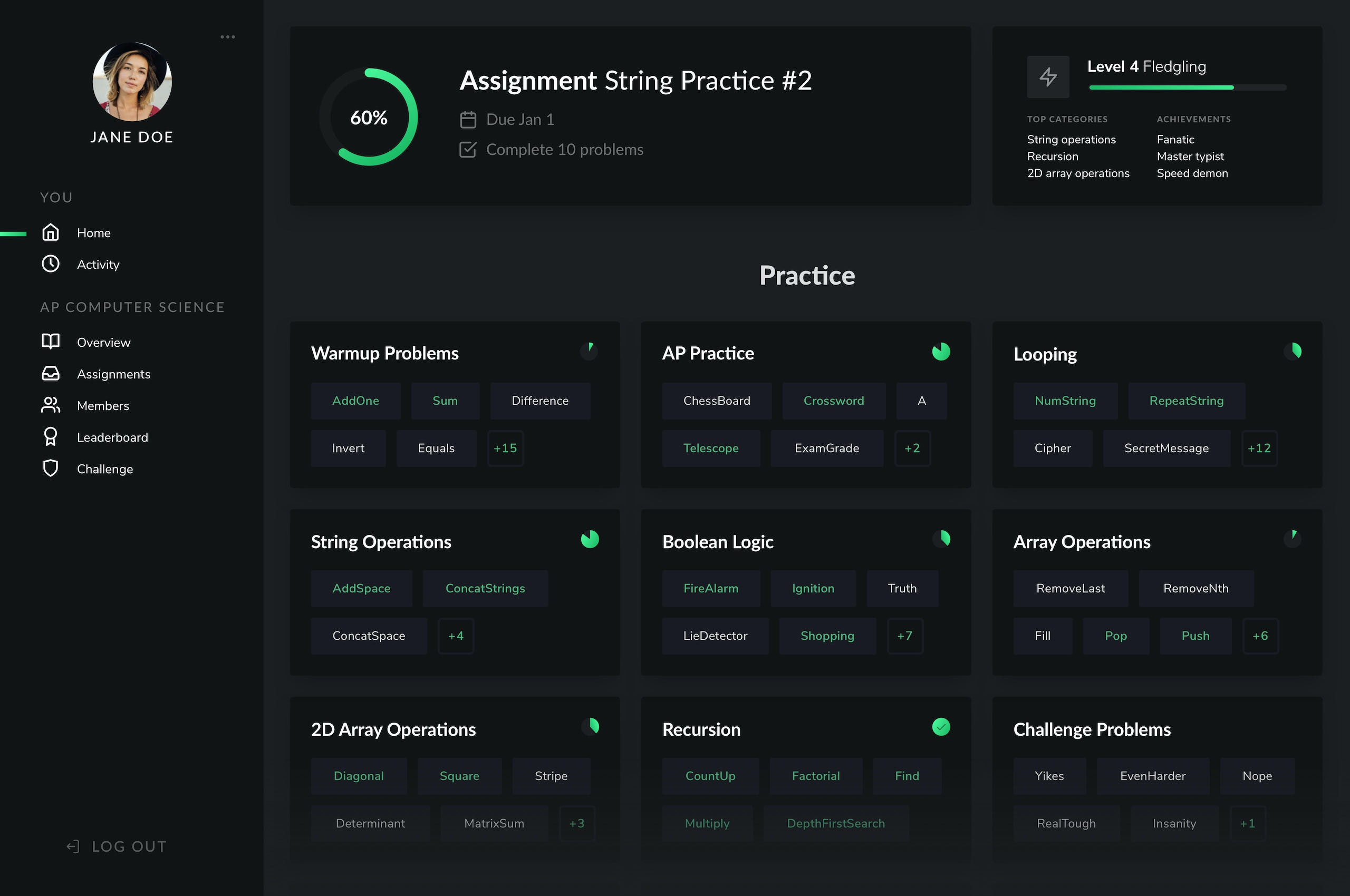 Main student dashboard page of Codus