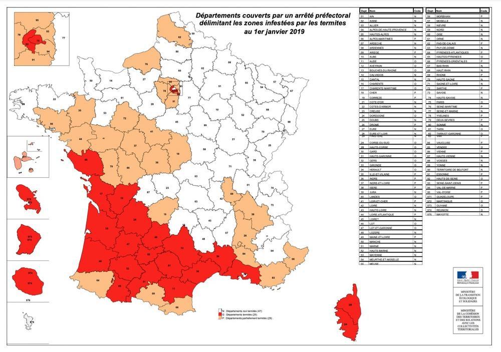 Carte des départements couverts par un arrêté préfectoral concernant les invasions de termites.