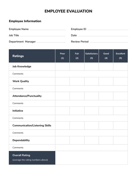 Employee Evaluation Forms