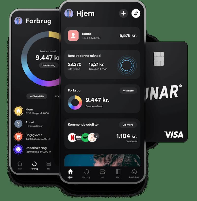 Få en gratis konto, et stilet sort Visa-kort og/eller et virtuelt kort og Danmarks bedste bank-app.