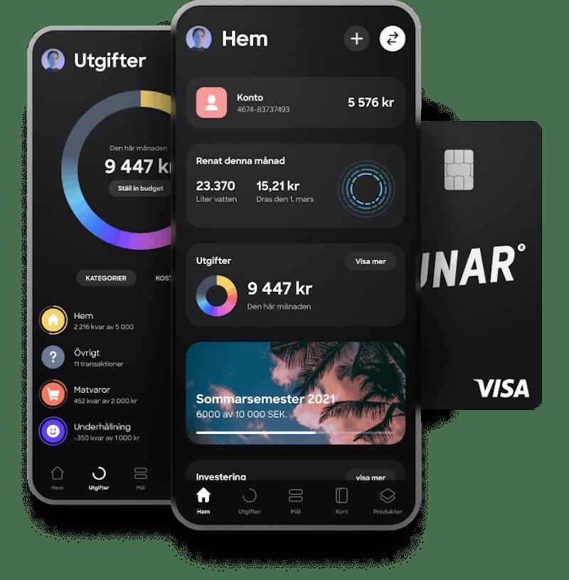 Få ett gratis konto, ett snyggt svart Visa-kort och/eller ett virtuellt kort och Sveriges nya bank-app.