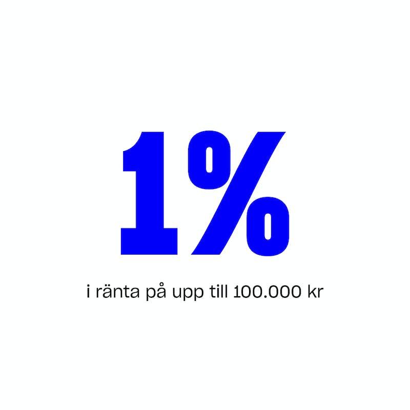 +1% i ränte på upp till 100.000 kr.