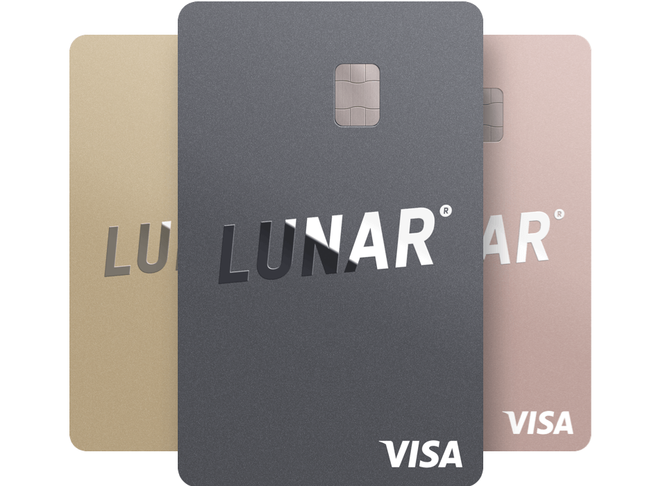 Lunar Premium cards in Gold, Silver and Rose Gold.