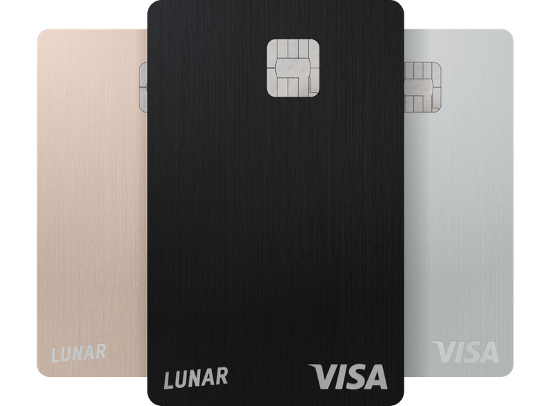 Lunar Pro metal card in Rose Gold, Black and Silver.