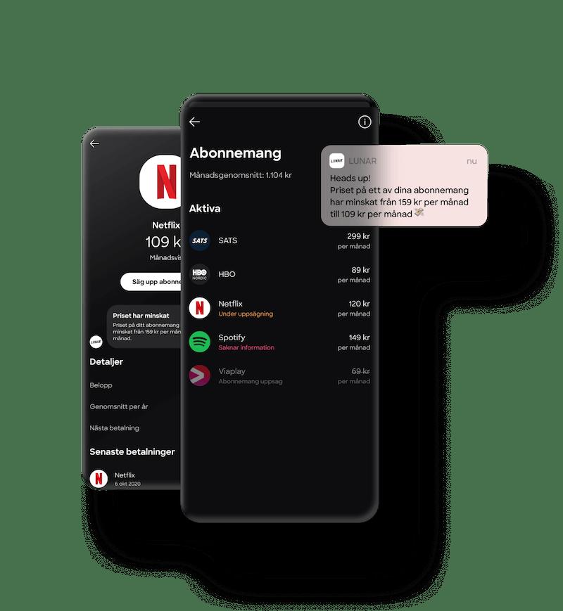 Appen ger dig överblick över dina abonnemang