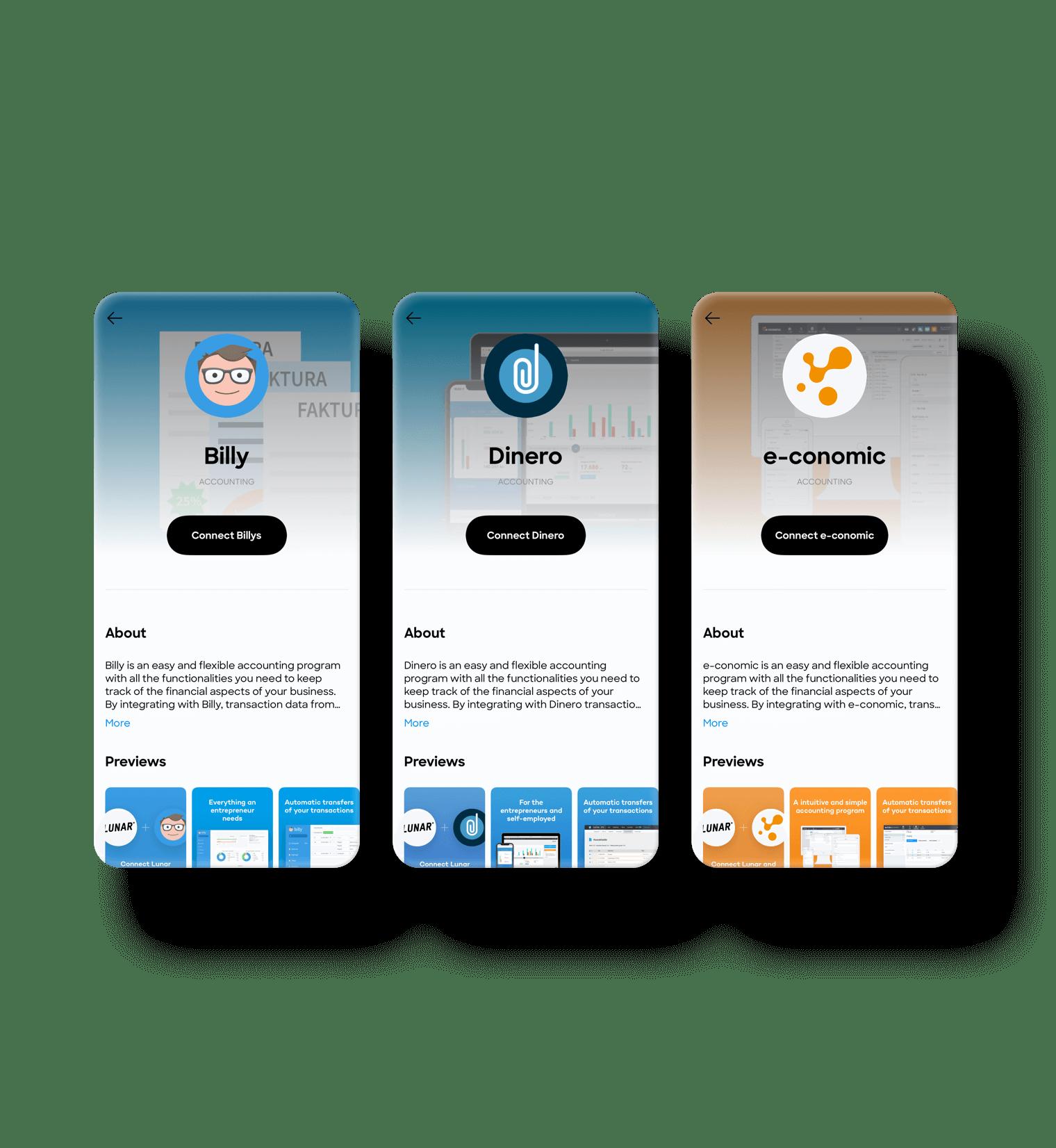 Integrér med Billy, Dinero eller e-conomic, og saml alt i appen