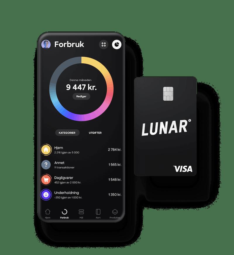 Norges beste bank-app og et stilrent, svart kort.