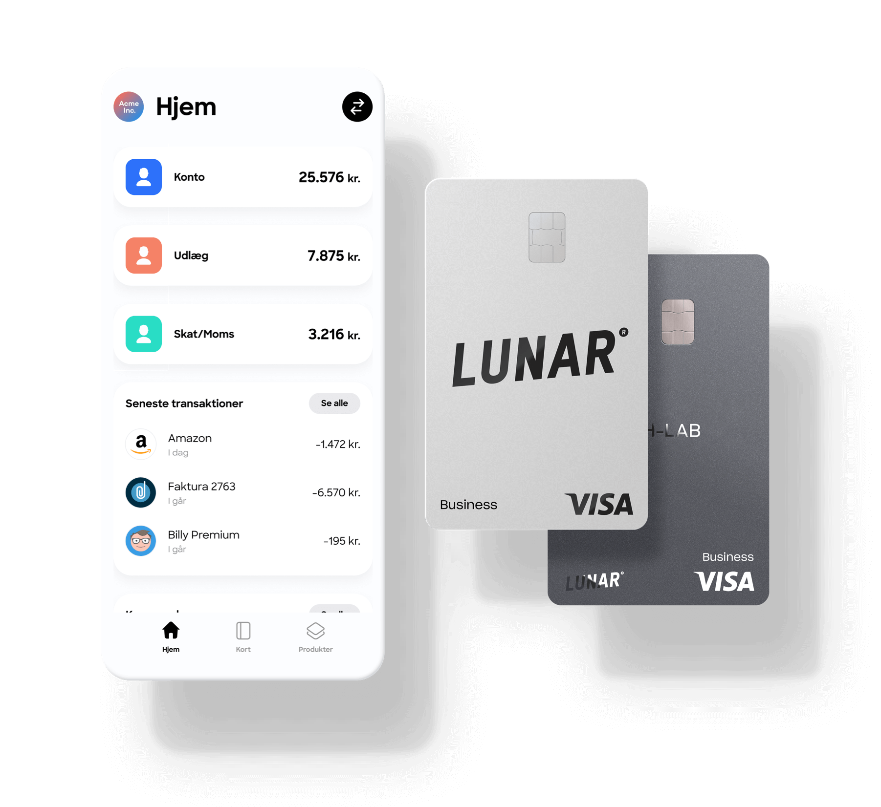 Lunar Business erhvervskonto og kort