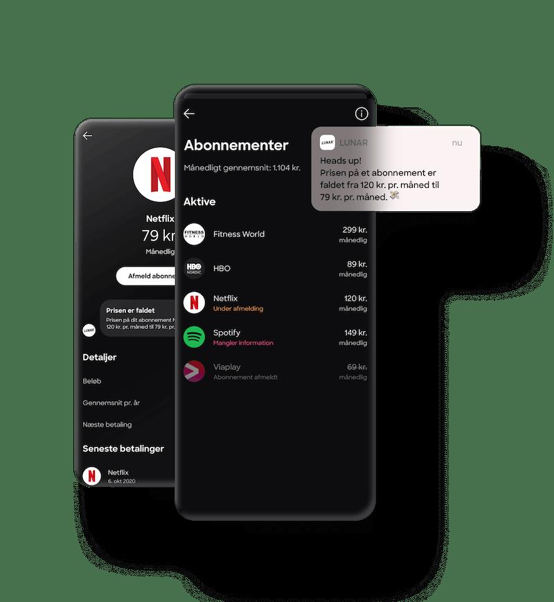 Appen giver dig overblik over dine abonnementer