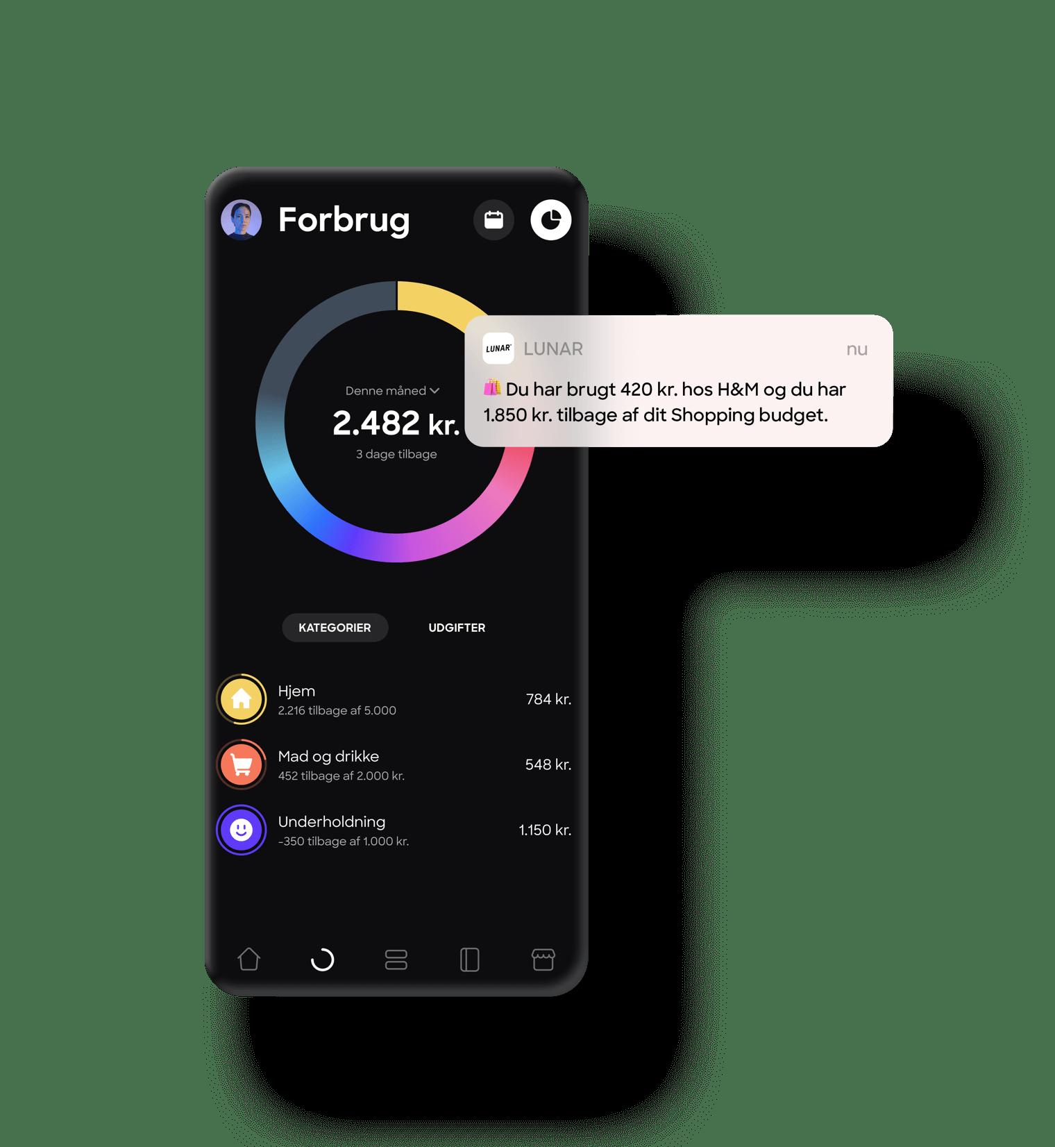 Spend overview in Lunar app