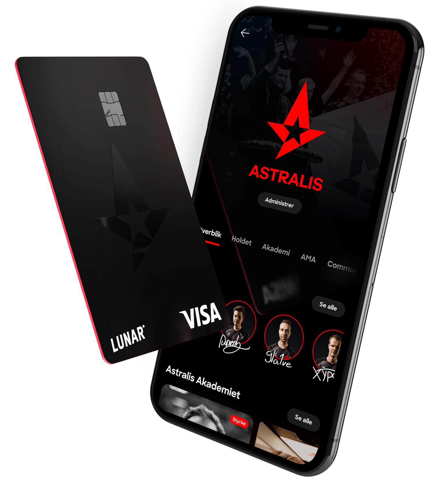 Get an unique Astralis card and access to exclusive content in the Lunar app.