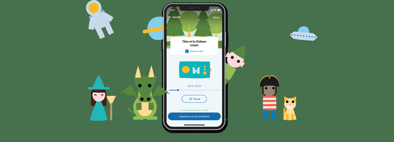 Téléchargez l'application mobile gratuite Mon Lunii Studio sur votre Store préféré