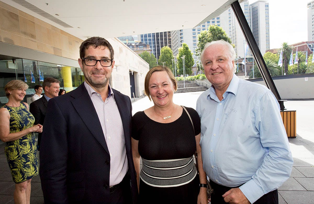 Lysicrates Prize 2016 Chairman of Griffin Theatre Bruce Meagher, Hon Greg Pearce and Shauna Jarrett