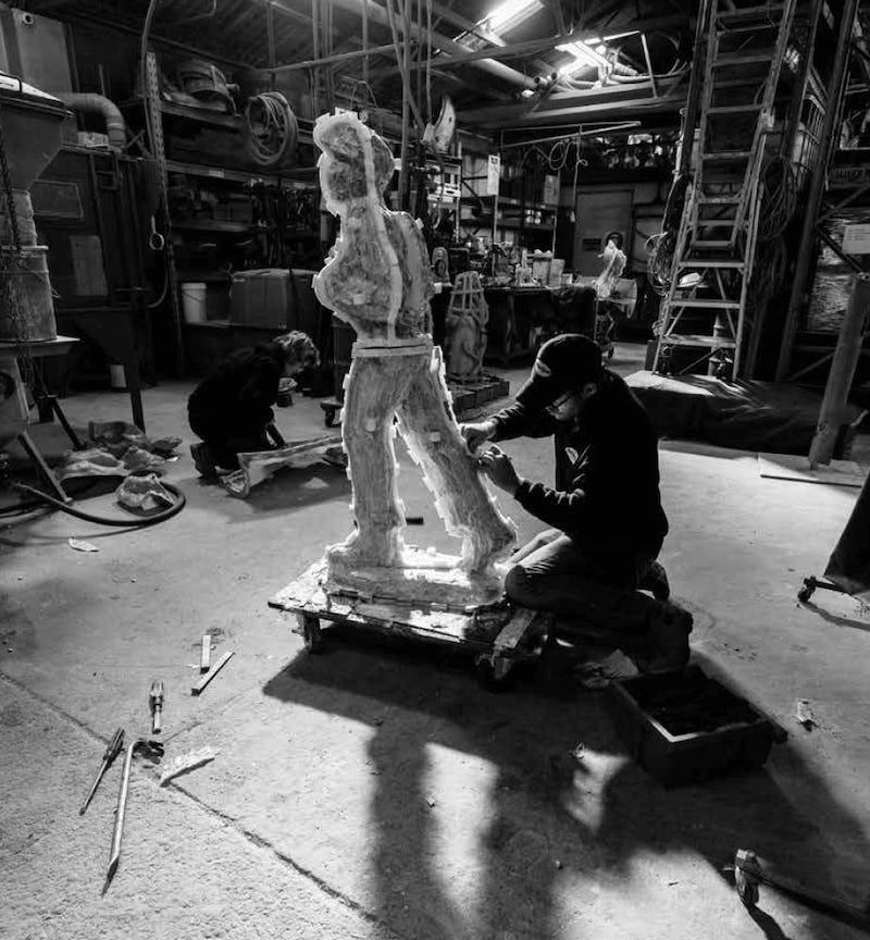 Lysicrates Foundation Making James Martin Statue