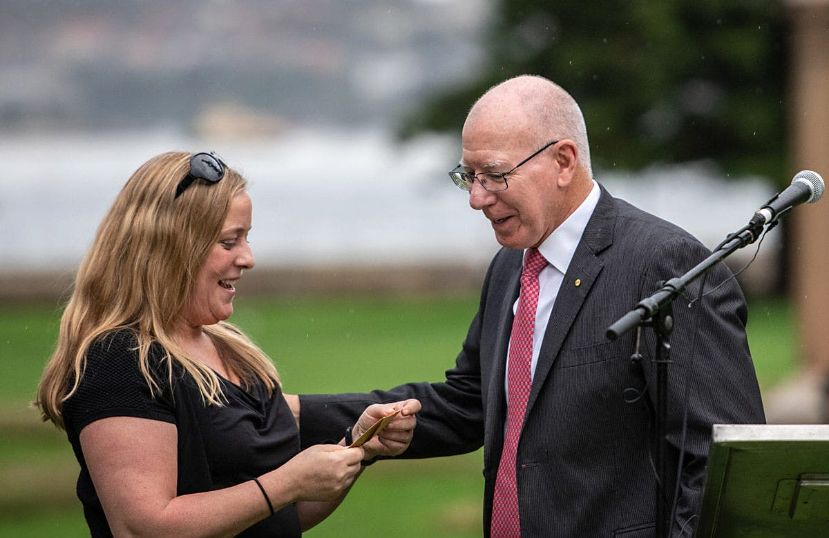 Lysicrates Playwright Prize Event 2019 Winner with NSW Governor General David Hurley