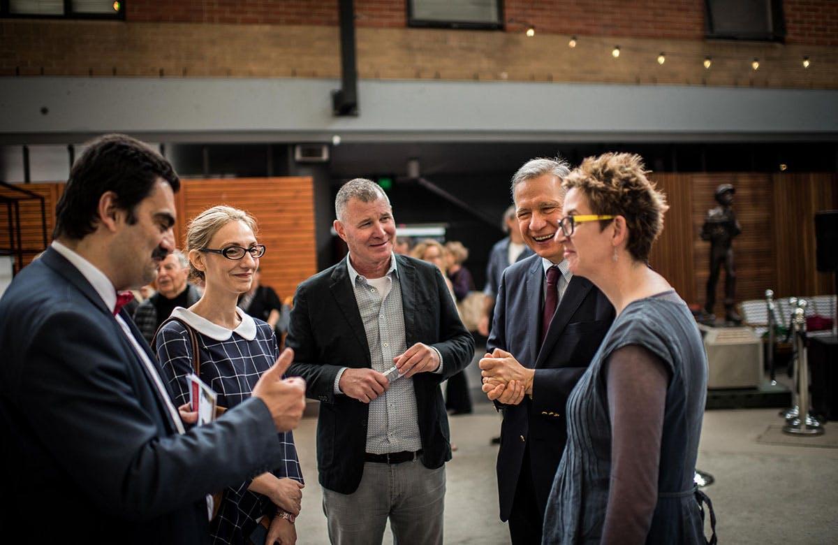 Lysicrates Prize 2017 Dr Stavro Kyrimias, Katia Gkigniza, John Azarias, Katie Pollard Winning Playwright