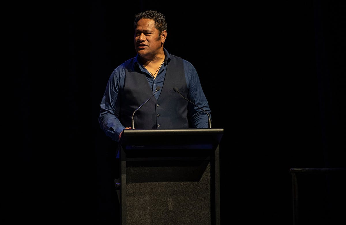 Martin Lysicrates  Playwright Prize 2019 Master of Ceremonies Jay Laga'aia