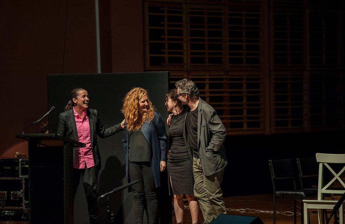 Lysicrates Prize 2016 Lee Lewis with 3 finalists Elise Hearst, Mary Rachael Brown and Campion Decent
