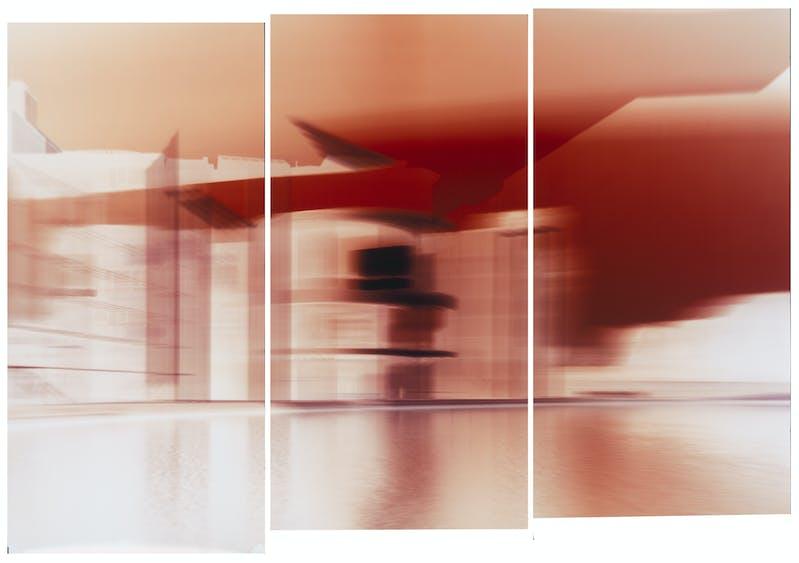 Motiongraph #116 Marie Elisabeth Lüders Haus, Berlin, River Spree, 08:21 AM, April 18th 2018. 60 x 90 INCH (159 x 229CM), Triptych: Three Unique Chromogenic Paper Negatives.