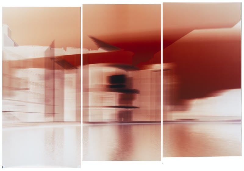 Motiongraph #116 Marie Elisabeth Lüders Haus, Berlin, River Spree, 08:21 AM, April 18th 2018. 60 x 90 INCH (159 x 229CM), Triptych: Three Unique Chromogenic Paper Negatives.