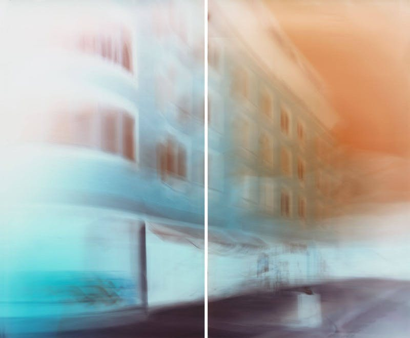 Motiongraph #30 7th Avenue at Perry Street, Manhattan, New York, 03:14 PM, July 23rd 2016. 50 x 60 1 INCH (127 x 153.5 CM), Diptych: Two Unique Chromogenic Paper Negatives.