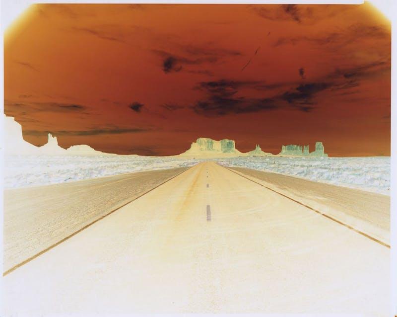 Negative #121 Road to Monument Valley, US Road Trip, August 2012. 8x10 INCH (20.3 x 25.4 CM). Unique Chromogenic Paper Negative