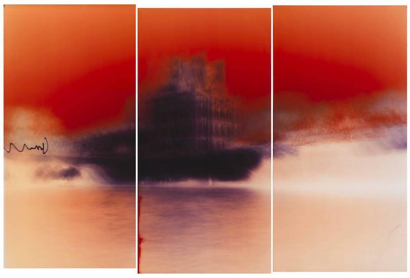Motiongraph #108 Le pavillon de Flore, Palais du Louvre, River Seine, Paris, France, 04:31 PM, November 22nd, 2017. 66 x 90 INCH (167 x 229CM) Triptych: Three Unique Chromogenic Paper Negatives.