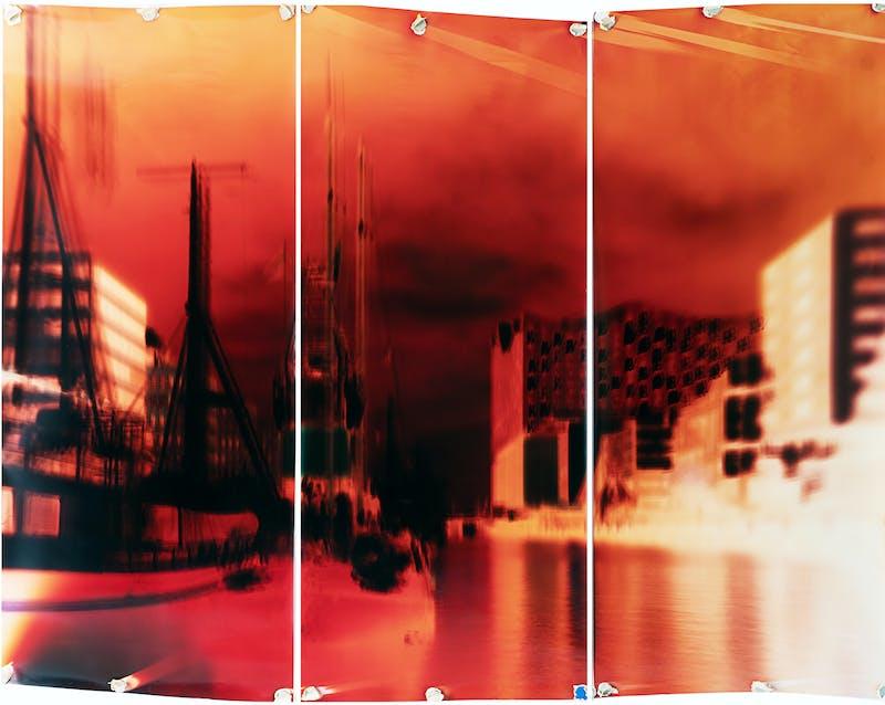 Motiongraph #138 View at Traditionsschiffhafen, Kaiserkai, Hamburg, 9:12 AM, June 5th 2018. 228 x 174 CM (89,5 x 68,5 INCH), Triptych: Three Unique Chromogenic Paper Negatives