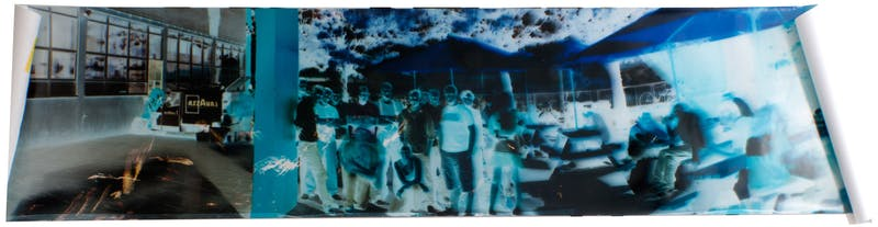 Camera Obscura group photograph, Elephant&Castle, London, June 2010 30 x 125 INCH (76,5 x 317,5 CM), Unique Color Paper Negative.
