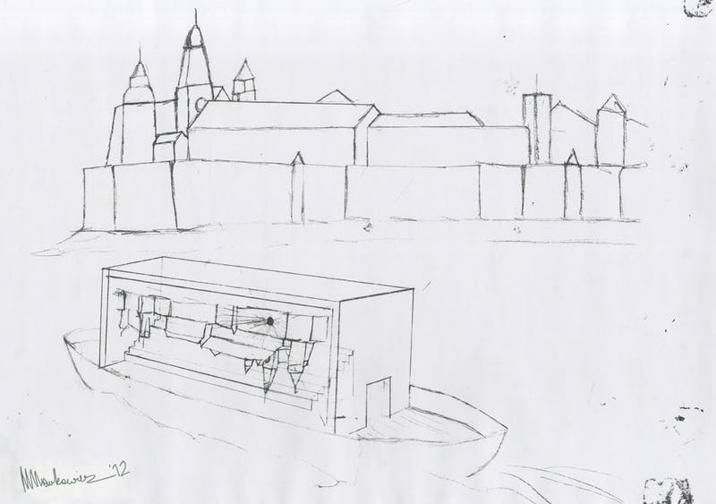 Drawing of the initial concept of the Floating Camera at river Wisula, Krakow from September, 2012.  Courtesy: Maciej Markowicz