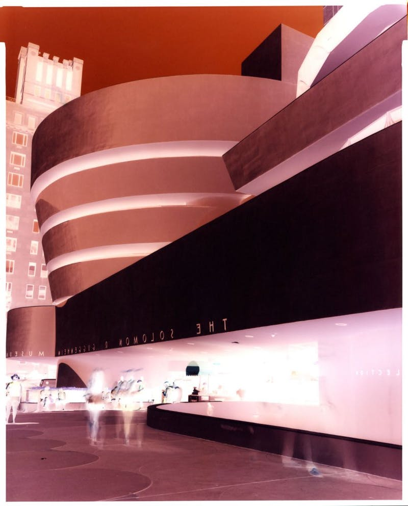 Negative #416 Guggenheim Museum at noon, Manhattan, New York, June 2014. 8x10 INCH (20.3 x 25.4 CM). Unique Chromogenic Paper Negative.