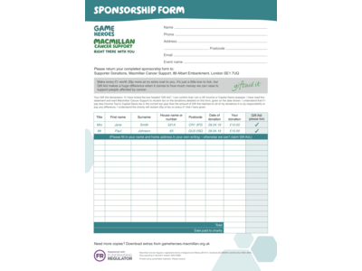 Thumbnail of a Macmillan Sponsorship form