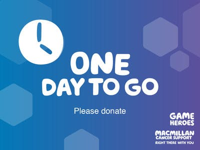 Thumbnail of social media badge saying 'One day to go'