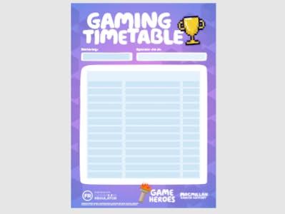Individual Gamer Timetable