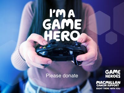 Thumbnail of social media badge saying 'I'm a game hero please donate'