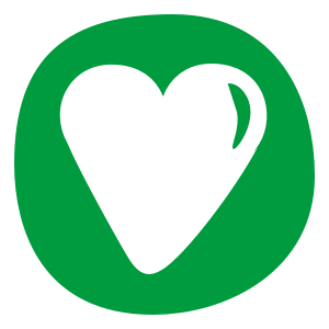 love heart icon with green background