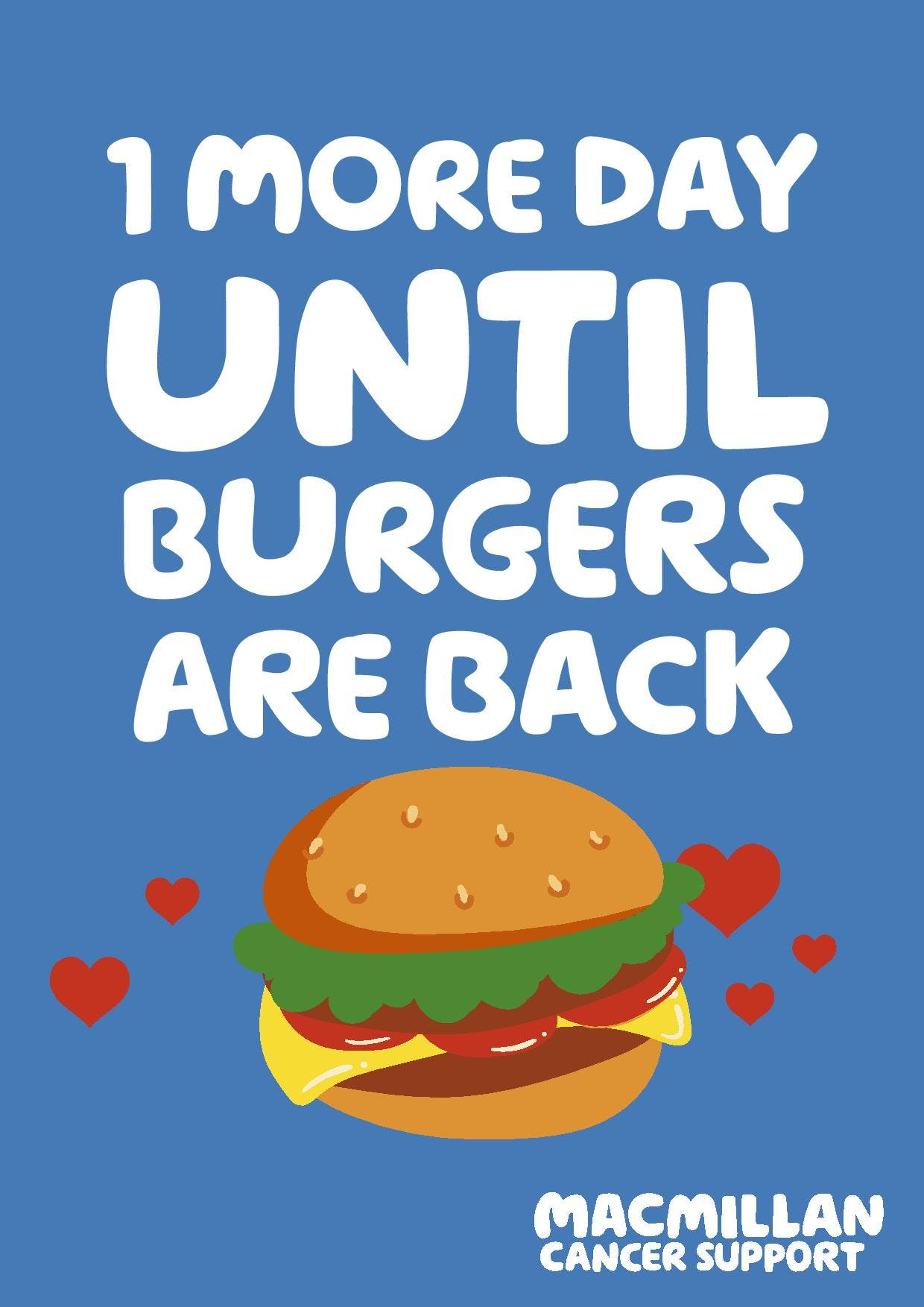BLUE BACKGROUND: 1 more day until burgers are back