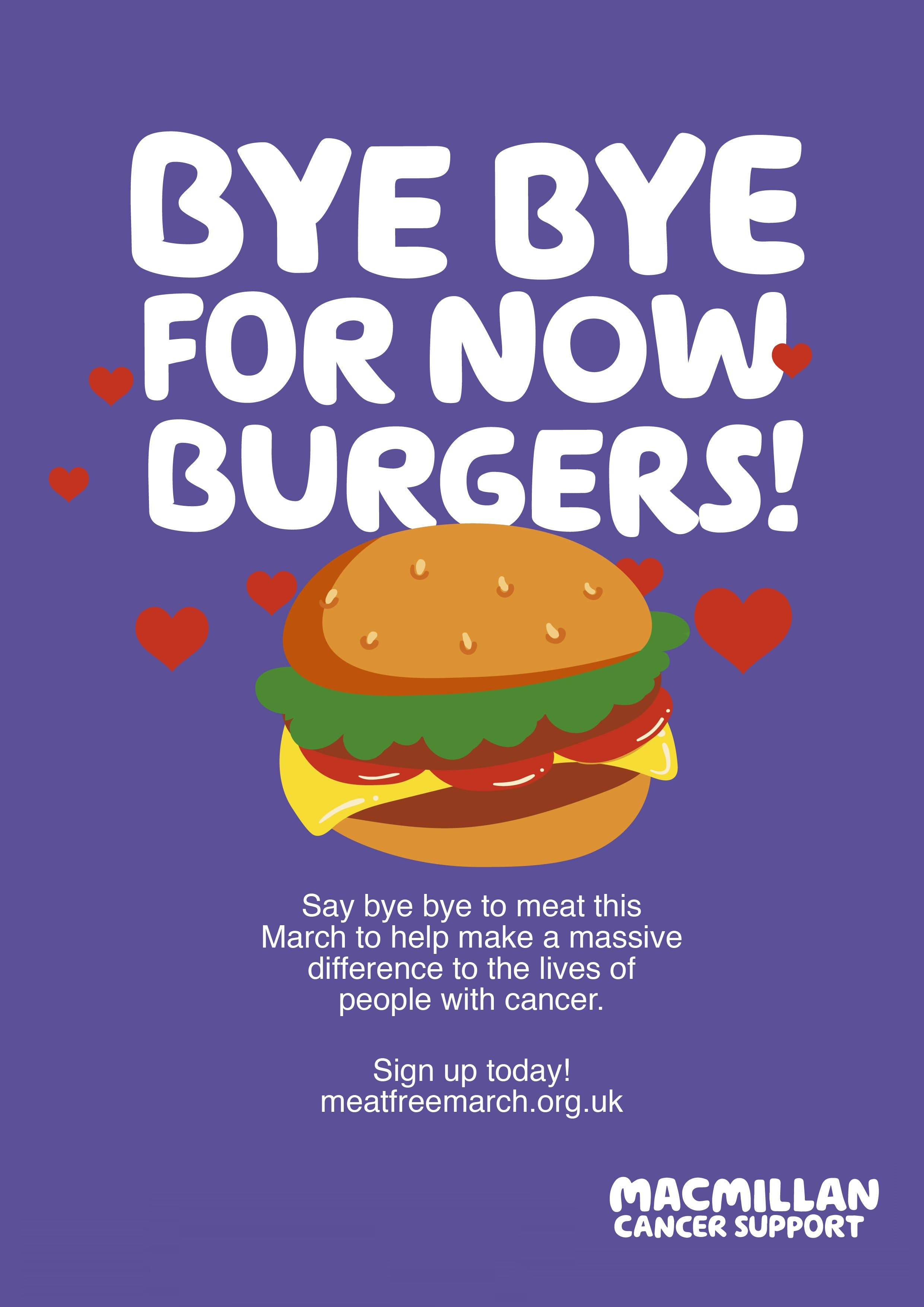 purple background text: bye bye for now burgers