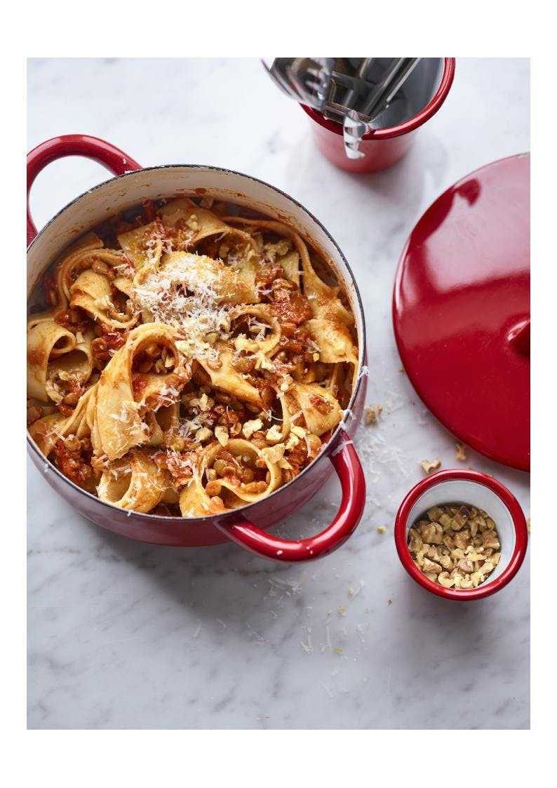 lentil bolognese in red pan