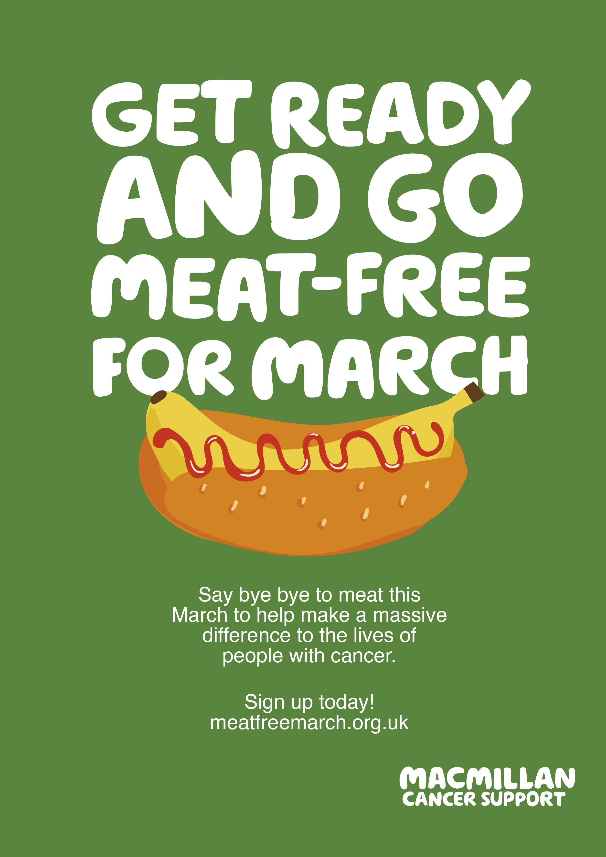 Green background, illustration with banana and a bun text get ready to go meat free march