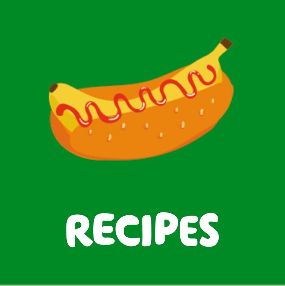 banana in bun and recipes text