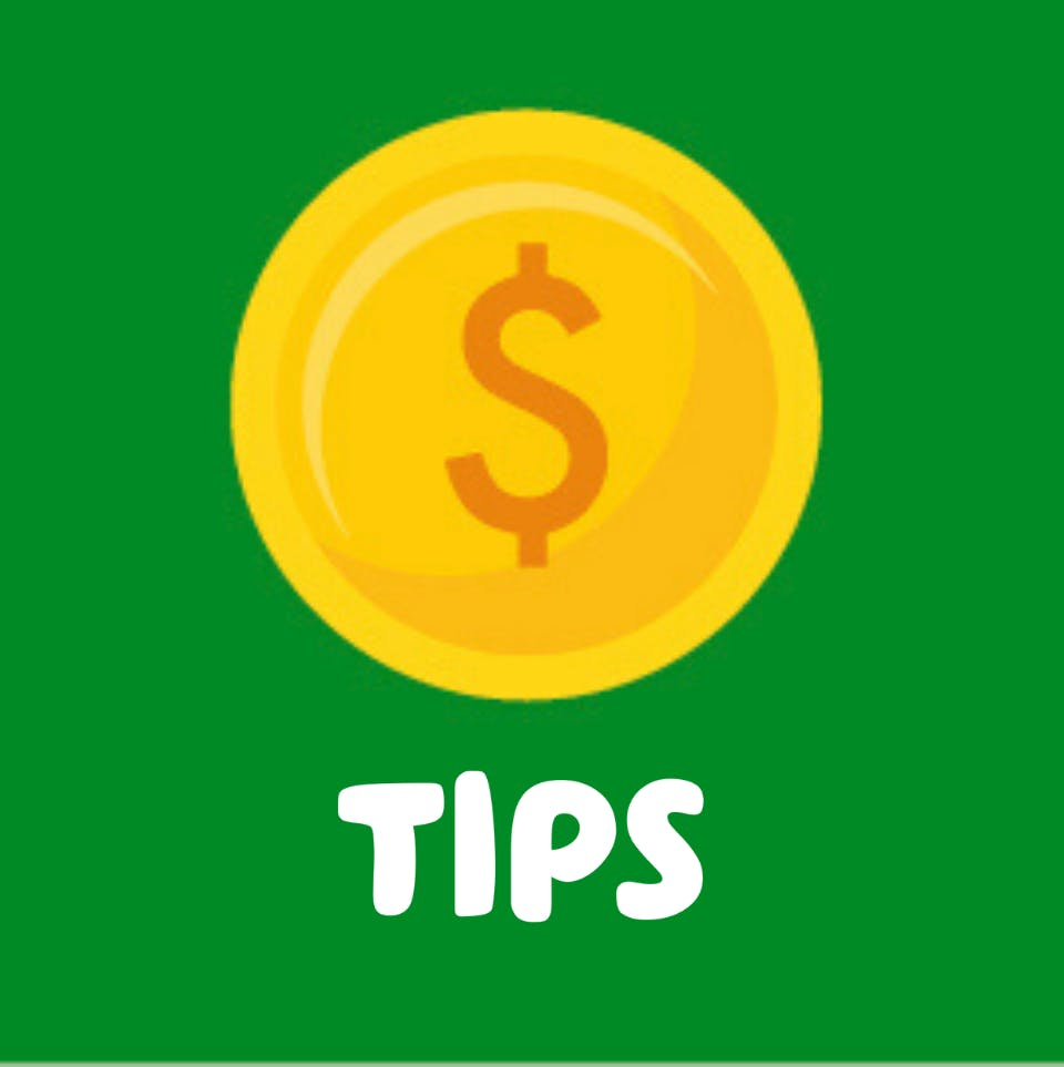coin illustration and tips text