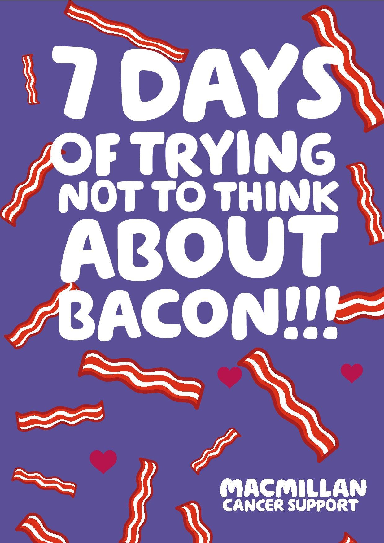 Purple background text: 7 days of trying not to think about bacon!!!